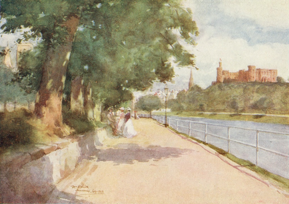 Inverness – old watercolour – by the banks of the River Ness.