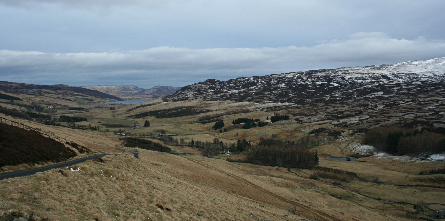 Looking east towards Amulree, with Loch Freuchie in the distance