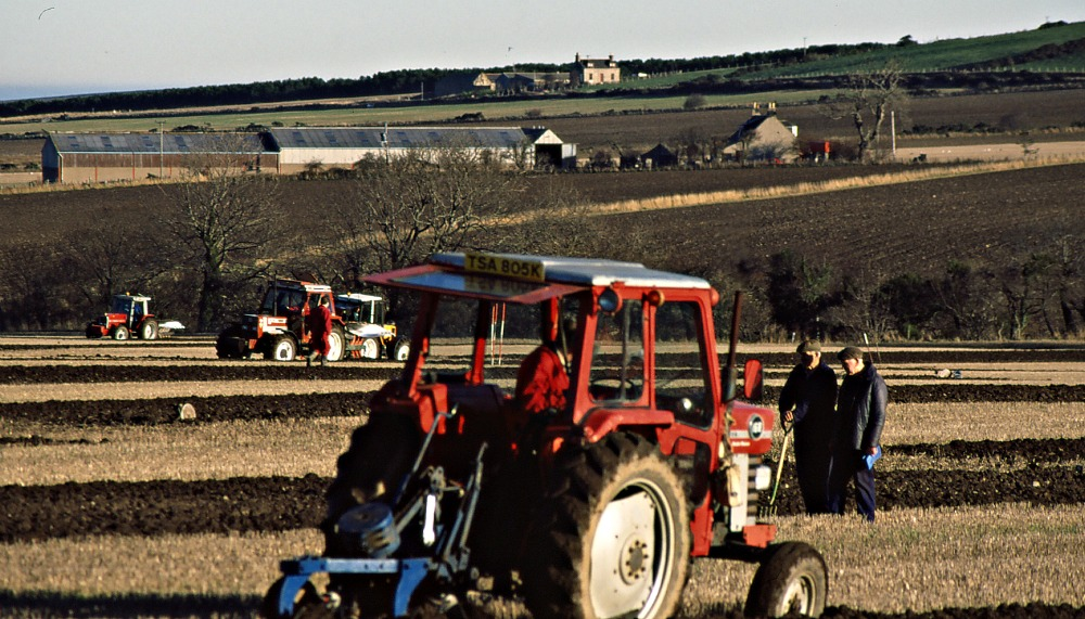 Ploughing match, near Fordyce, Aberdeenshire. Scanned 35mm transparency, c. 1989