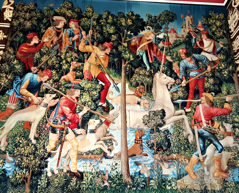 The Mystic Hunt Of The Unicorn - one of the recreated tapestries at Stirling Castle.