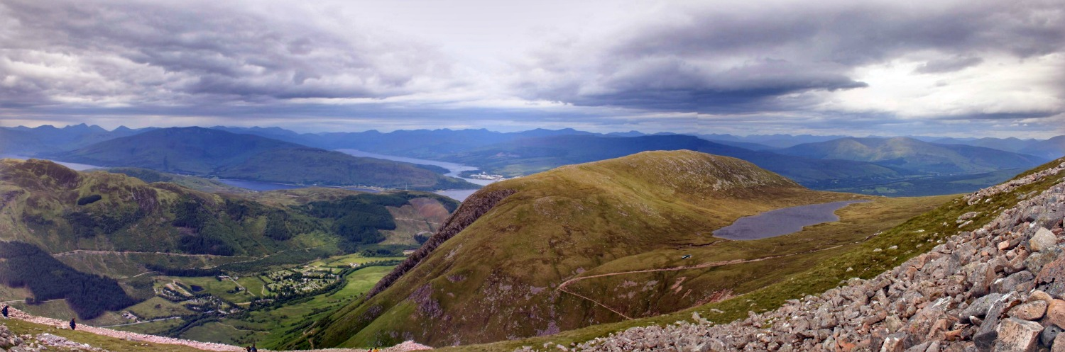 Ben Nevis panorama. Well, it looked a bit like this but Google Photos stitched this pic together.