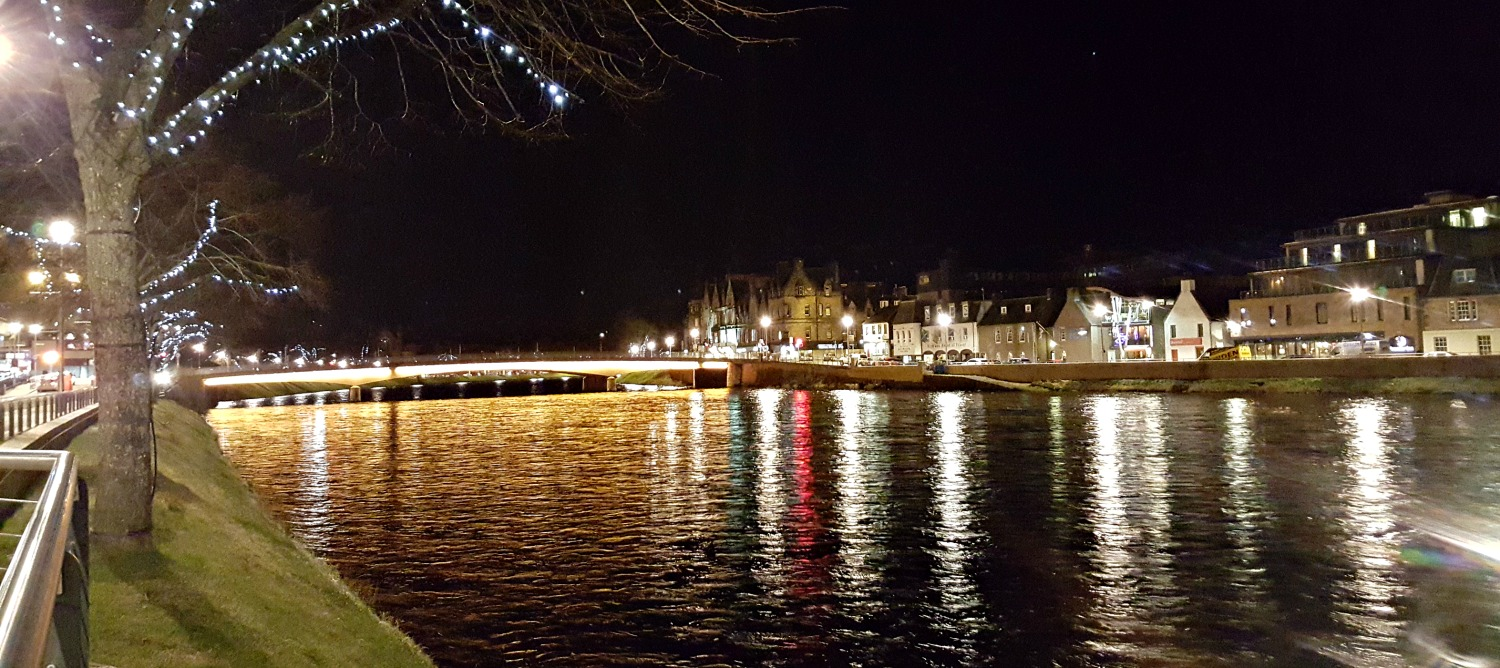 Looking upstream, River Ness, Inverness centre.