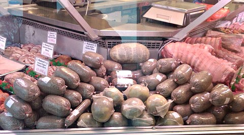 Haggis, of various breeds, for sale in a Scottish butcher