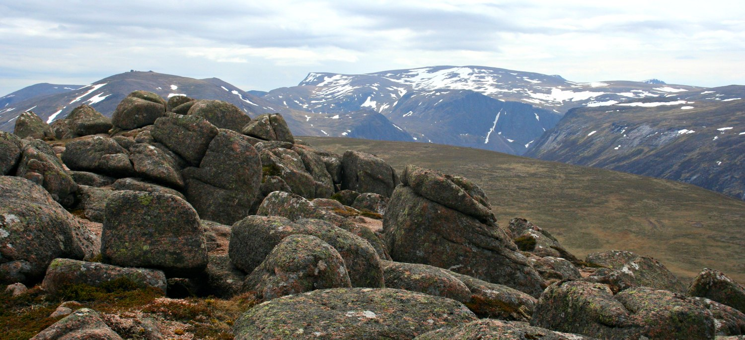 View from the top of Bynack Mor, in the heart of the Cairngorm National Park. It's early June and the highest tops are still carrying some snow.