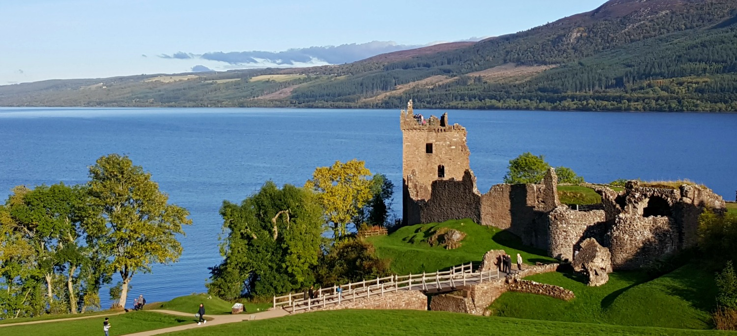 The popular Urquhart Castle overlooking Loch Ness. In this strategically important position, it formerly guarded the routes thrugh the Great Glen.