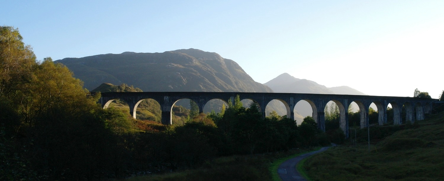 The impressive Glenfinnan Viaduct, photographed in the evening from up the glen - an easy drive from Fort William for all you Harry Potter people.