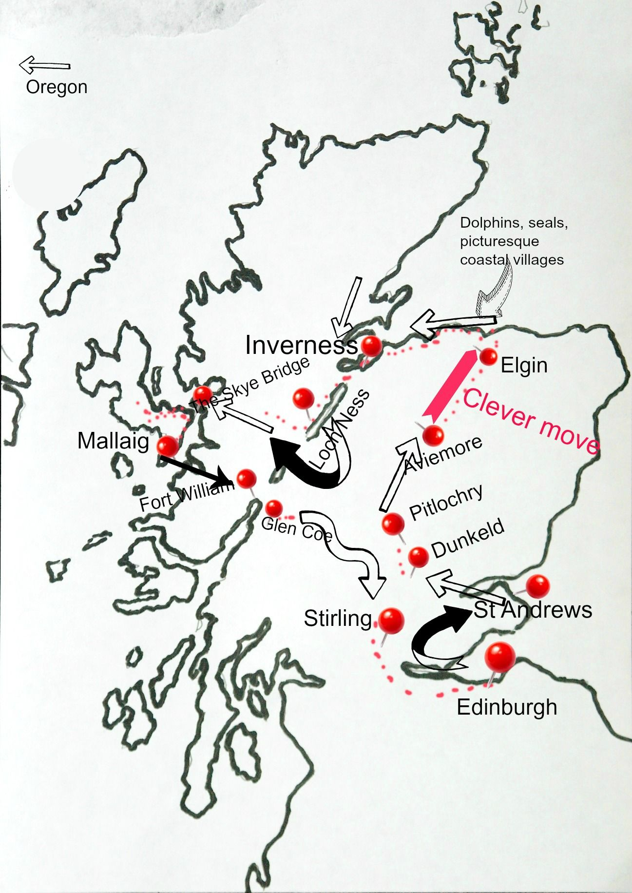 There is no guarantee given with this map that by following it you won't end up in, say, Oregon. But you can see the general route. Note the clever diversion off the main drag, to discover  the Moray coast . A different Scotland. But, rest assured, you'll still see Skye.
