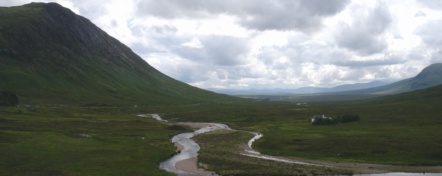 The A82 comes into Glen Coe from the south (strictly speaking, the east) after crossing Rannoch Moor, seen top right.