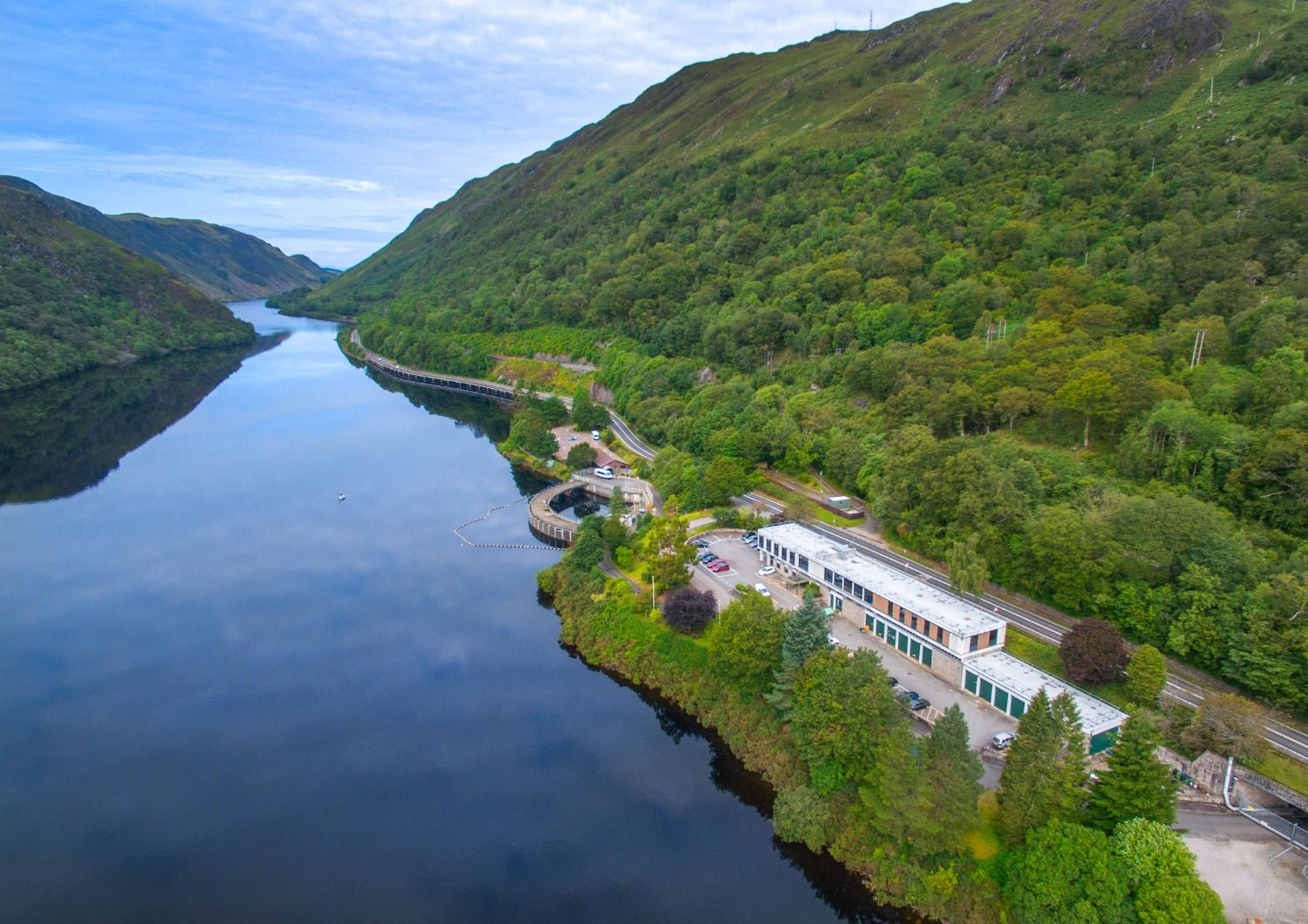 So, from the air, here's a view of  Cruachan - the Hollow Mountain - Visitor Centre . Woods and water? At first sight looks like classic midge country. But wait - they drive you into the mountain, down a tunnel to a great big turbine hall. No midges there - promise. Photo: ScottishPower.