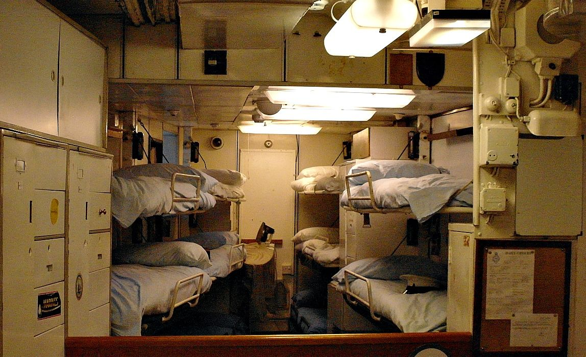This is where some of the crew - the marines, I think - slept. The sailors slept in hammocks right up to 1973.