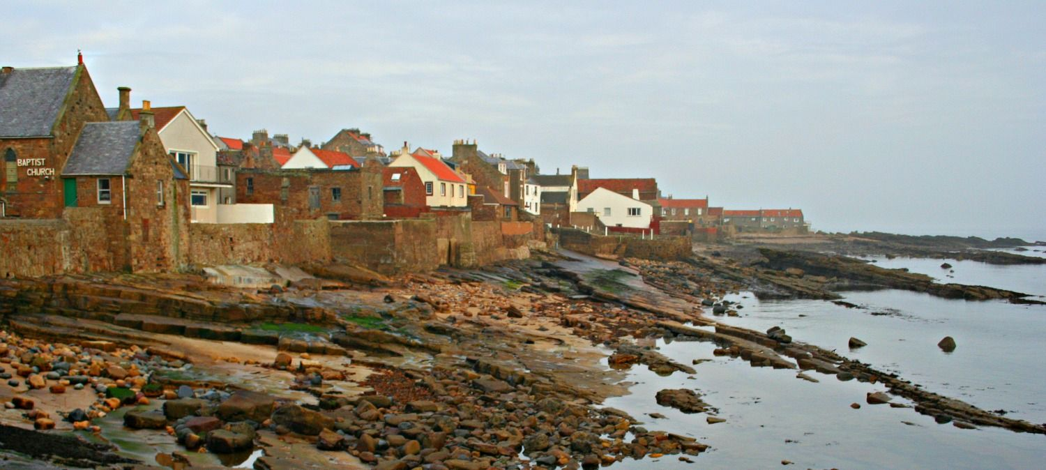 Anstruther, Fife - seafront from harbour - you'll get great fish and chips here! (Anstruther fish bar)