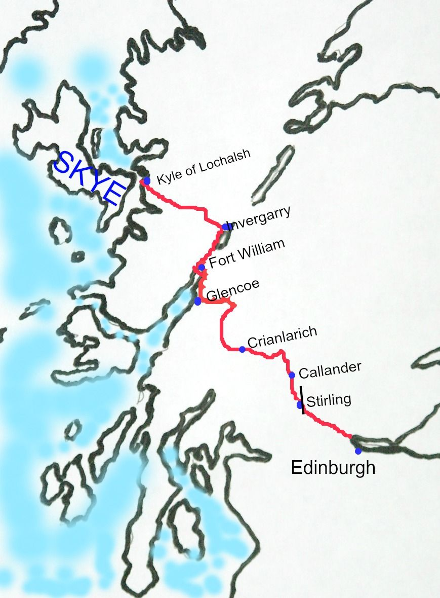 Just don't rush this Edinburgh to Skye route by road. Lots of scenic places to stop. The route from Glasgow up the side of Loch Lomond joins at Crianlarich.