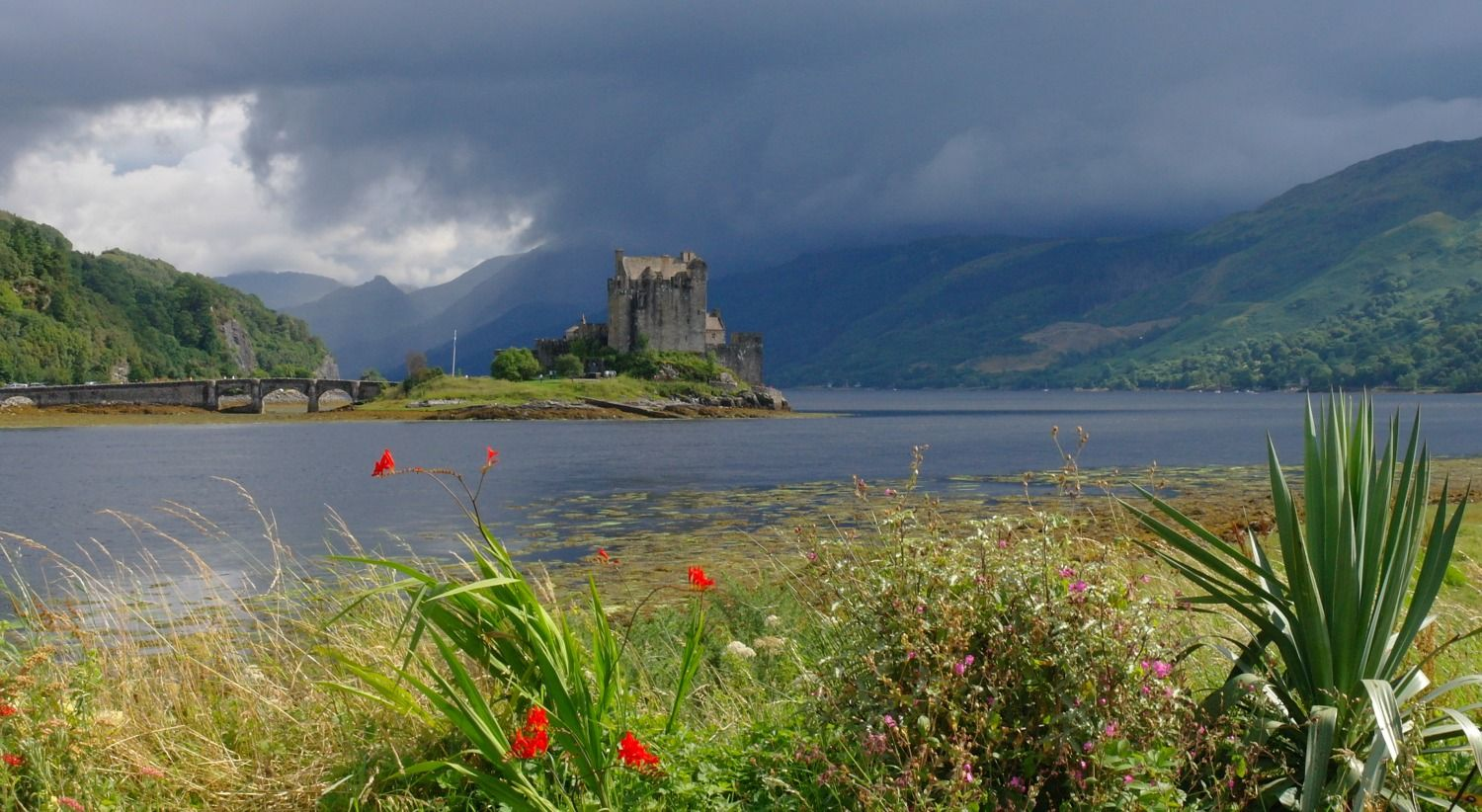 Eilean Donan Castle, iconic image of Scotland, on the road to Skye