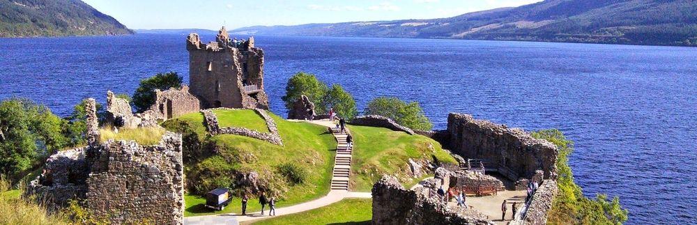 Urquhart Castle, by Drumnadrochit, has fine views of Loch Ness.