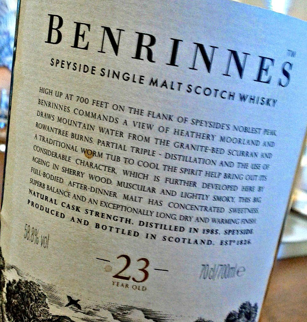 An eastern malt, this one is named after a landmark hill on Speyside. The label says Ben Rinnes is the noblest peak in Speyside. No idea what that means. Further, the whisky is 'muscular'. No idea what that means either.