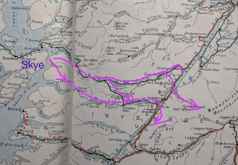 Modern Road to the Isles - red dots. Old Roads from the Isles - mauve lines starting from the Kylerhea crossing - still a ferry link from Skye today. Two main routes followed by the drovers, including a route now under water because of the raising of Loch Loyne for hydro-electric power generation. (See road that reaches Tomdoun, centre.)
