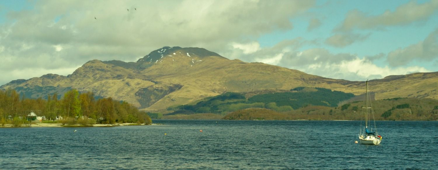 Spring on the loch. Ben Lomond from Luss - it's right at the end of April - but the trees stool look a bit bare!