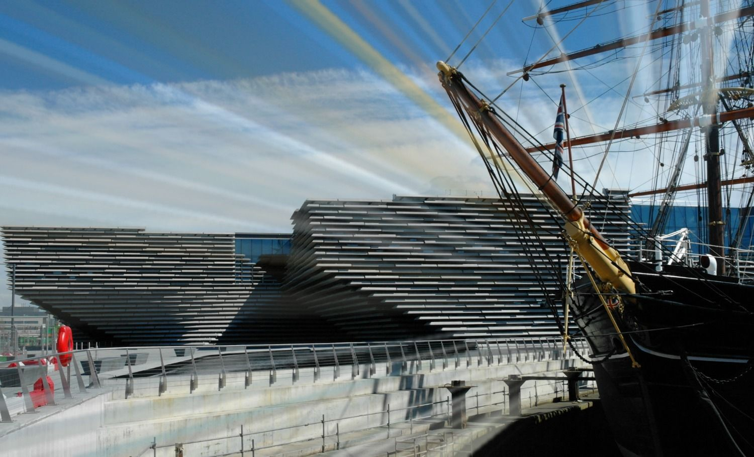 Here's a suitably arty-smarty picture of the new V & A Dundee, Scotland's first museum of design. It will be the only V&A museum in the world outside London, England: an international centre for design, a place of inspiration, discovery and learning. (According to the press information.) The famous  RRS Discovery , long after its Antarctic adventures, is, uhmm, parked nearby.