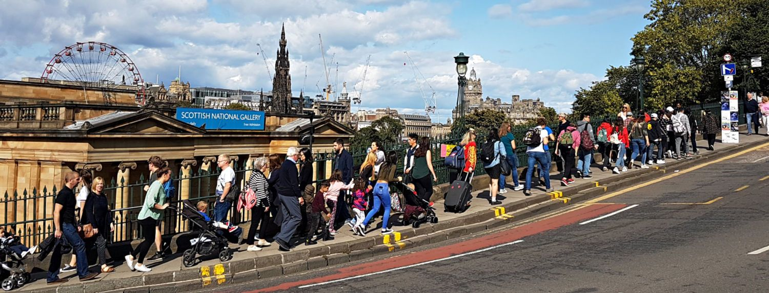 This is The Mound in Edinburgh, connecting Princes Street, New Town, with the Royal Mile, Old Town. (That's the Scott Monument on Princes Street, centre background.) Sure, the pavement /sidewalk is busy - but not as busy as the Royal Mile. It's the last week in August, the Edinburgh Festival is at its height and if it all gets a bit too crowded for you then there are other parts of Scotland to visit…