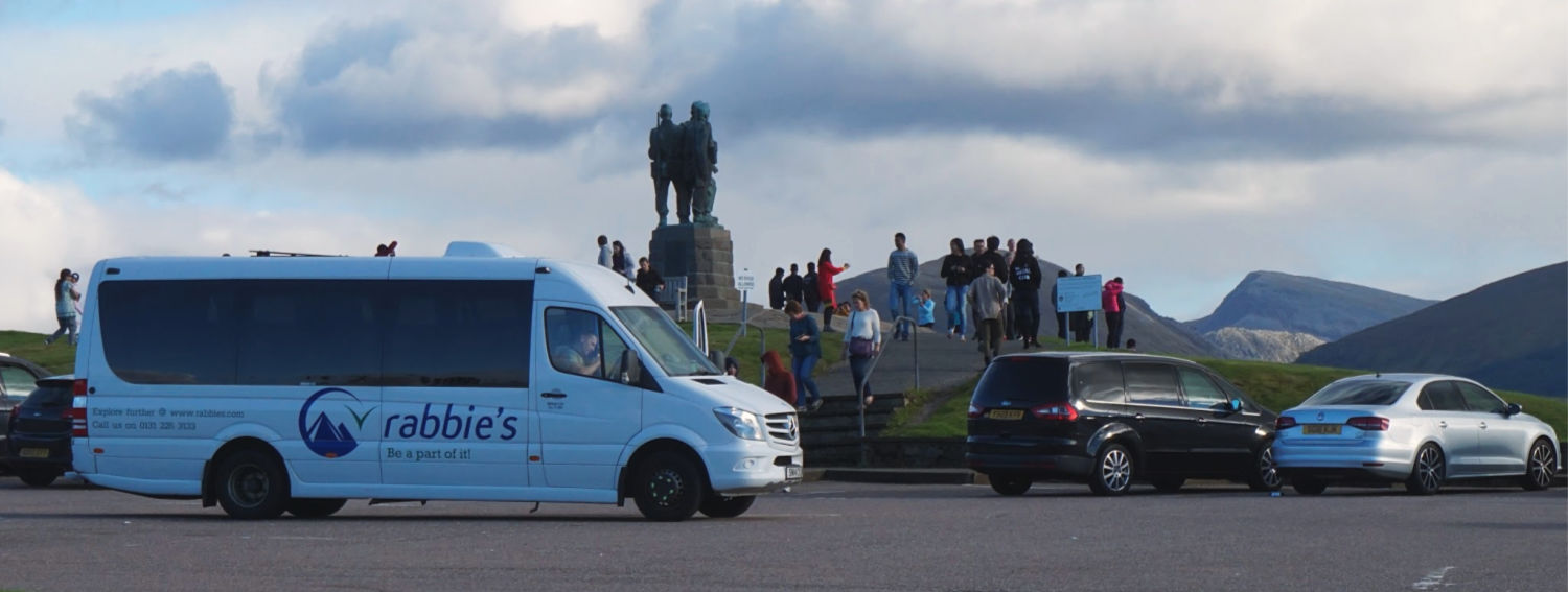 A reliable Rabbie's  small guided tour coach  (taking groups of 16 or less) calls at the Commando Memorial.