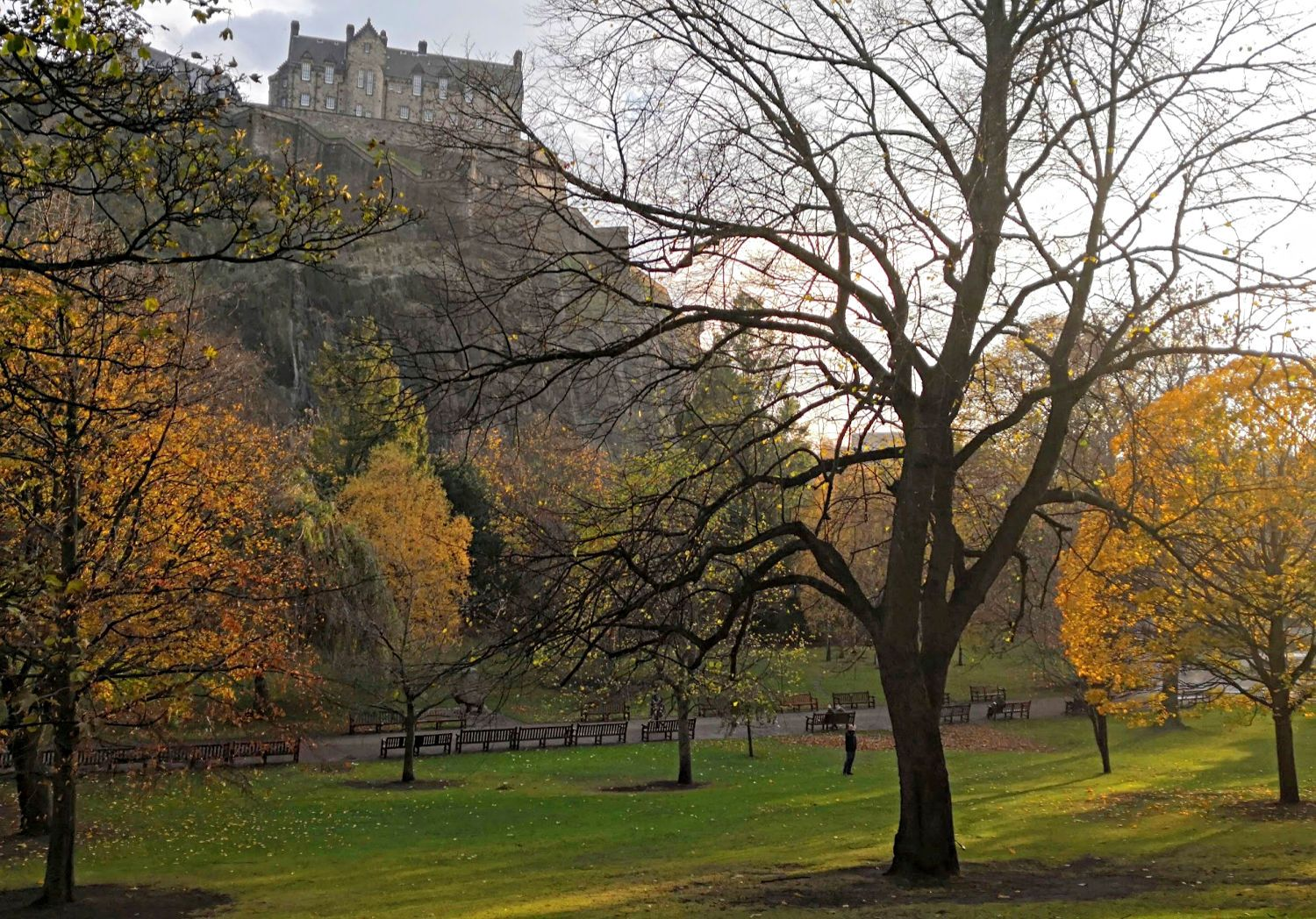 This is a calm day in Princes Street Gardens, Edinburgh. It's November 5 and there is still some fall colour to enjoy.