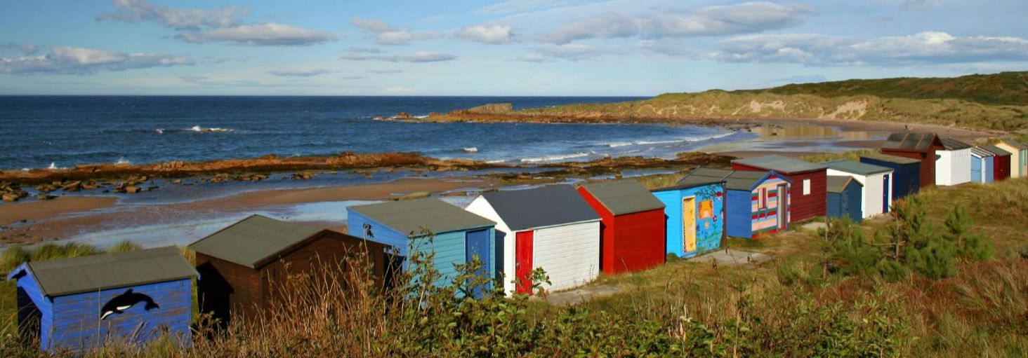 The beach huts at Hopeman. Fine coastal scenery too - just walk out of shot to the right. And keep walking.
