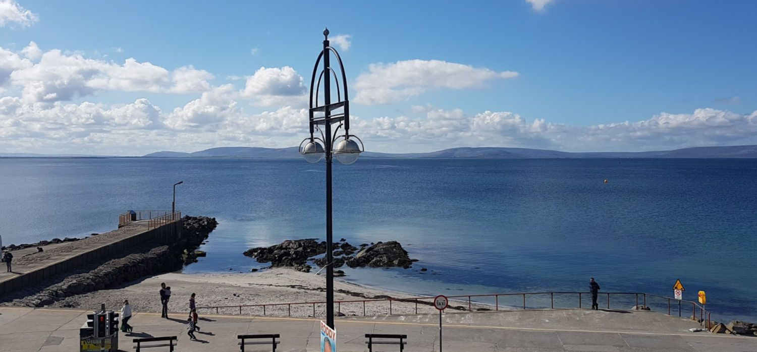 A sunny morning in Salthill. The Burren across Galway Bay. Pleasant, isn't it? But go for a stroll down there and you'll get swept along on a tide of brisk walkers and joggers - and you'll suddenly want to keep up with them…