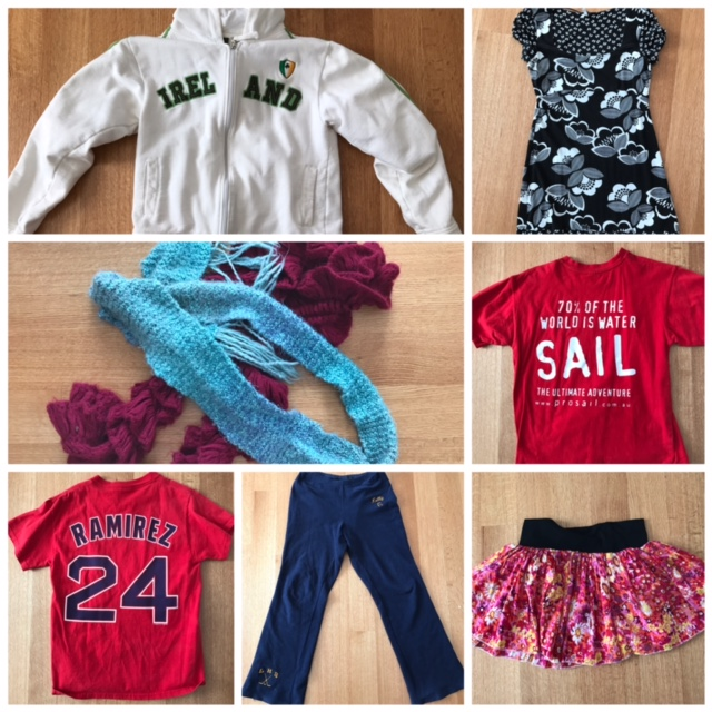 Kelly's sentimental clothing, from top left: sweatshirt from Ireland, top Caroline got me in Scotland, first scarf I ever knitted and scarf given to me by first kindergarten class, shirt from Whitsunday Island (Australia) sailboat, Red Sox shirt worn during 2004 World Series, HS hockey sweatpants, and skirt I wore the morning after my wedding.