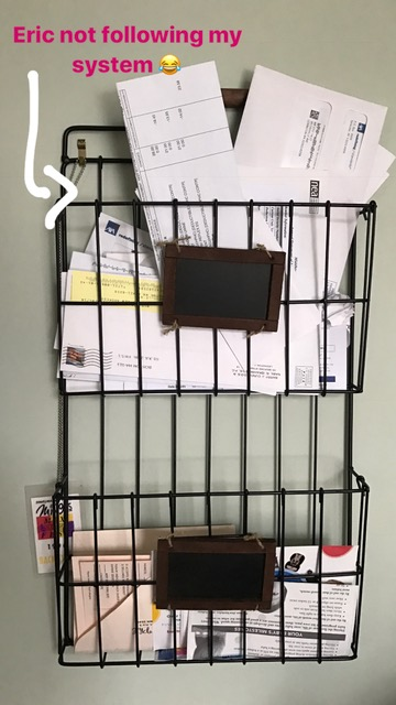 Kelly's system for mail that isn't immediately put in recycle