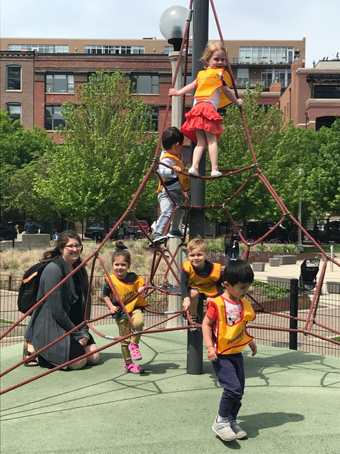 Our West Loop students enjoy outdoor time at the wonderful,Mary Bartelme Park, located directly across the street from our school.