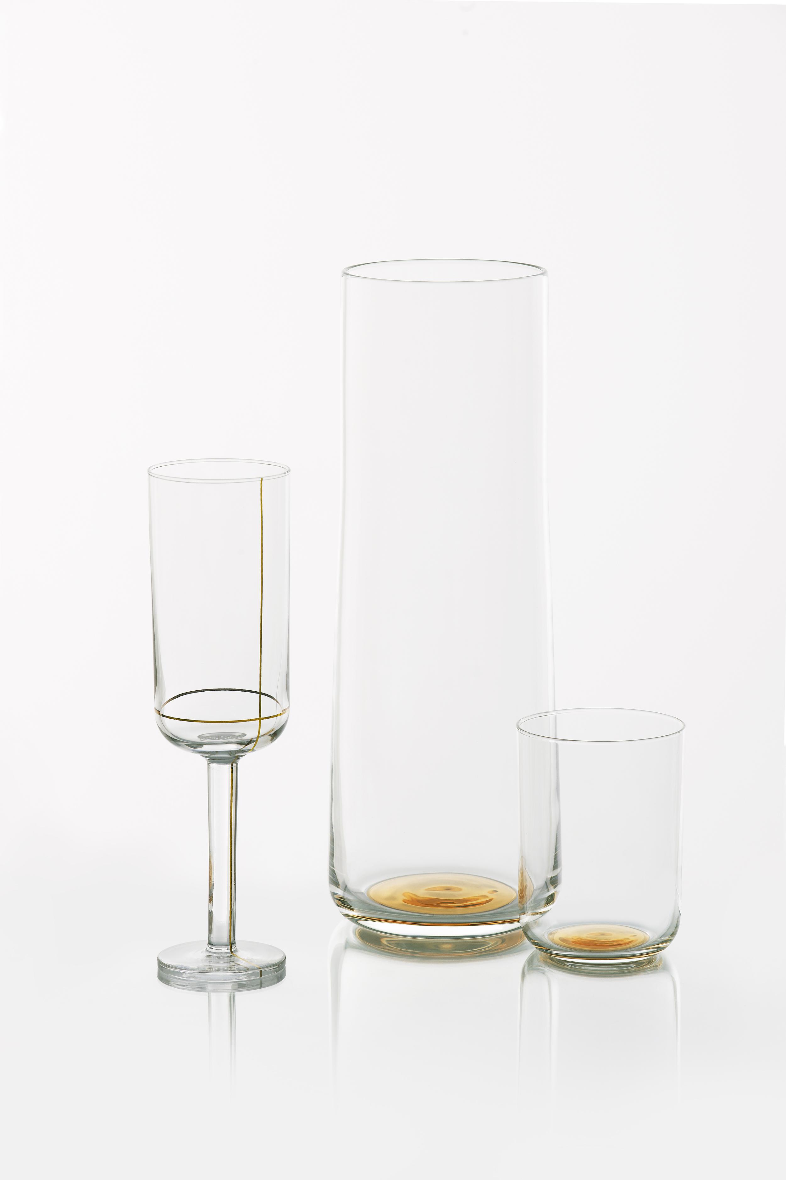 Colour Glass, champagne glass, carafe, water glass - golden dot.jpg
