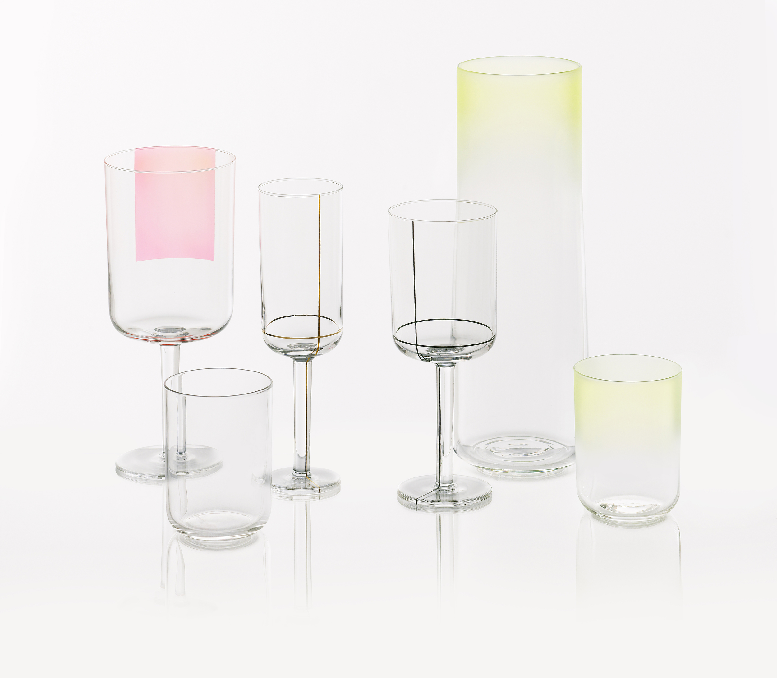 Colour Glass, red wine glass, champagne glass, white wine glass, carafe, water glass.jpg