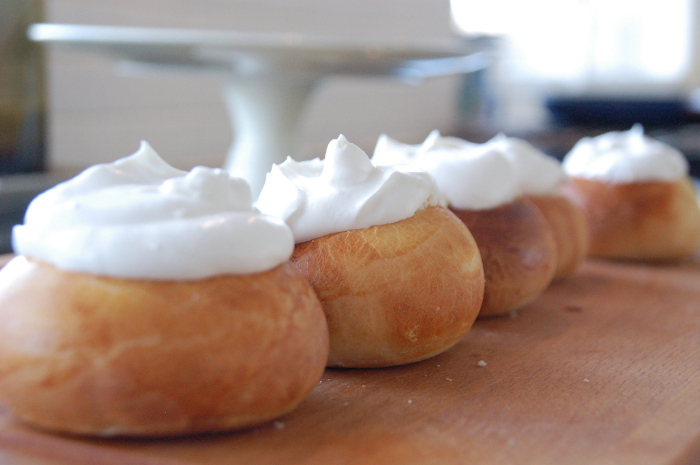 Making semlor for Fat Tuesday