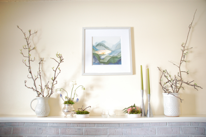 Decorating a long, wall to wall, mantel for spring.
