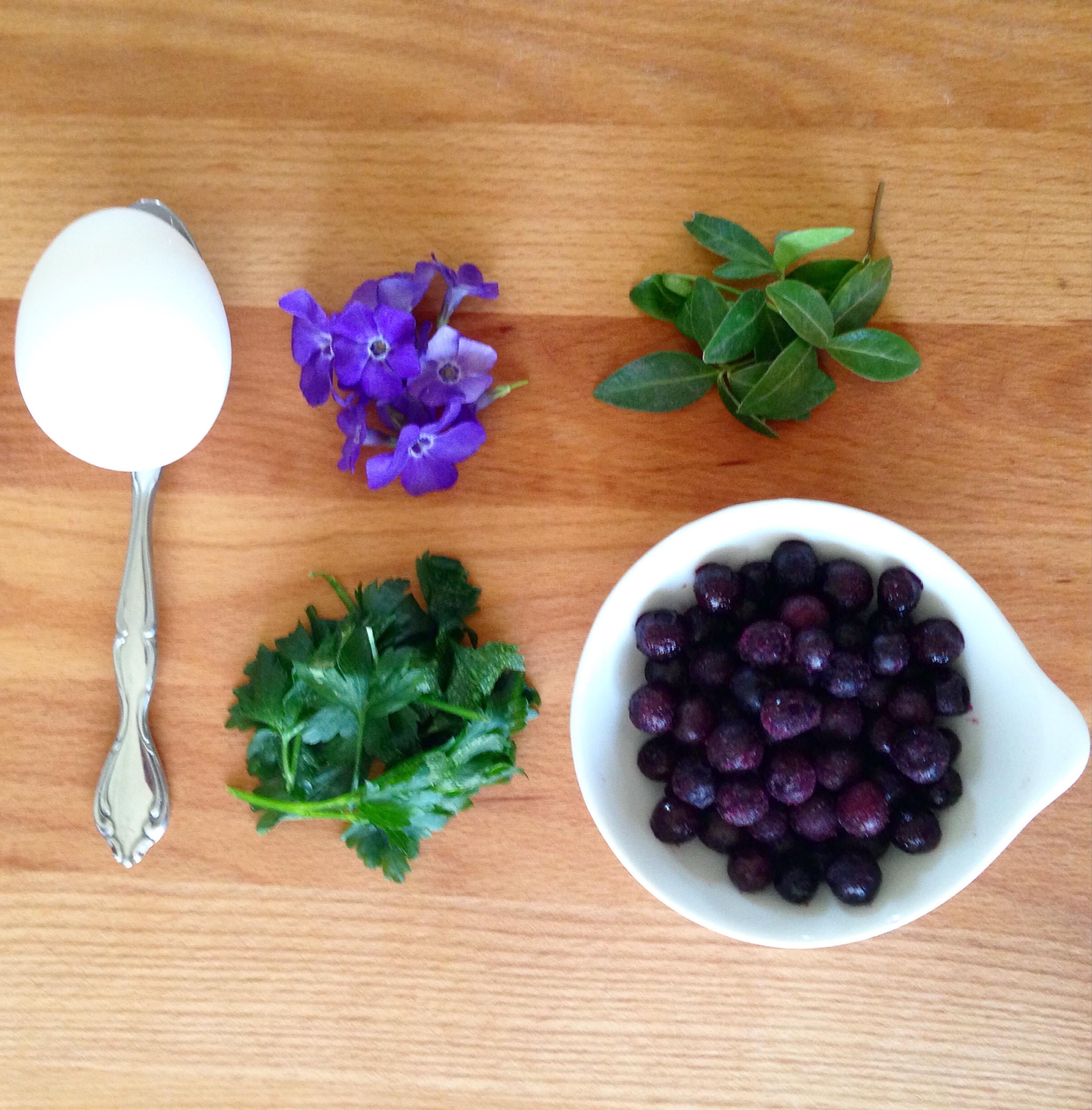 Blueberry dye easter egg decor.