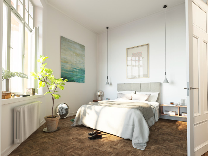 Working with existing architecture to a large degree makes for unique spaces. This room at an angle probably would never have been drawn like this on paper, but the quirks and heritage from the buildings previous life brings something dynamic and exciting to the home it is today. The nordic/classic style suits this room well.