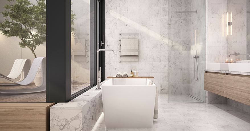 Marble and glass set the tone in the bathroom, but that terrace is what makes this space special.