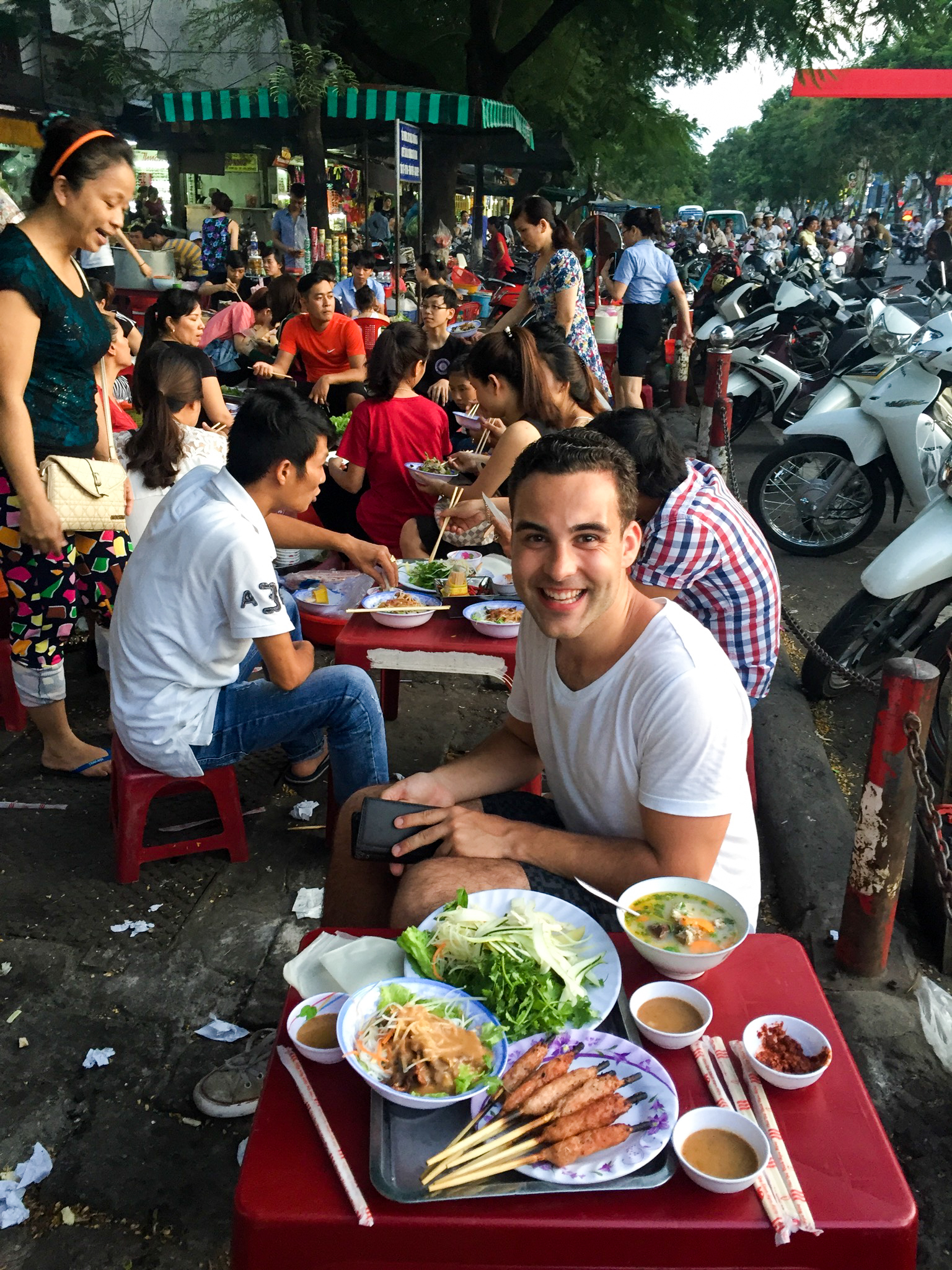Nick and our street food feast!