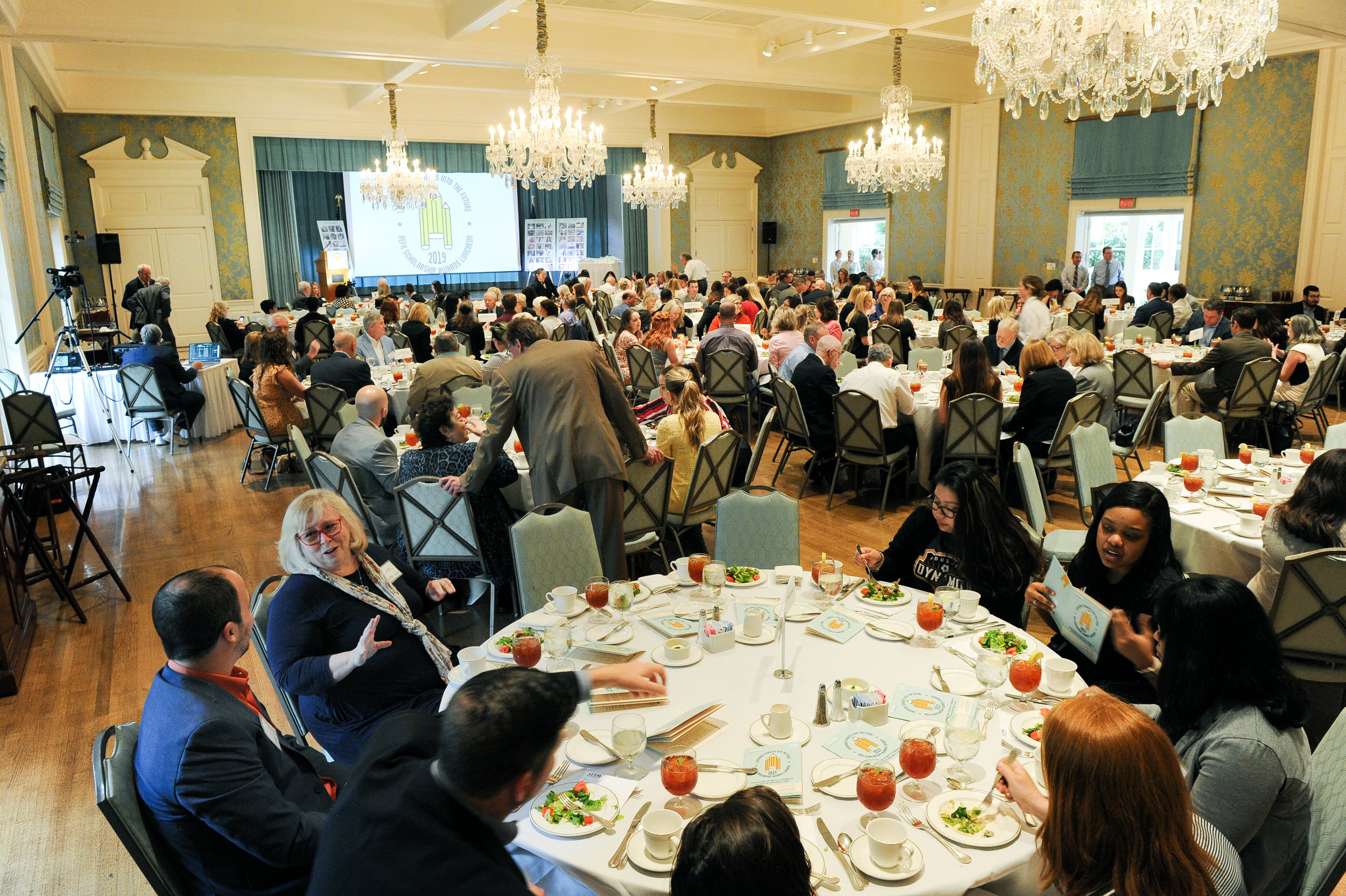 """2019 Scholarship Luncheon - Another successful year with 21 Scholarship Recipients and an inspiring speech from Jim """"Mattress Mack"""" McIngvale sharing his """"Ten Rules for a Successful Life""""."""