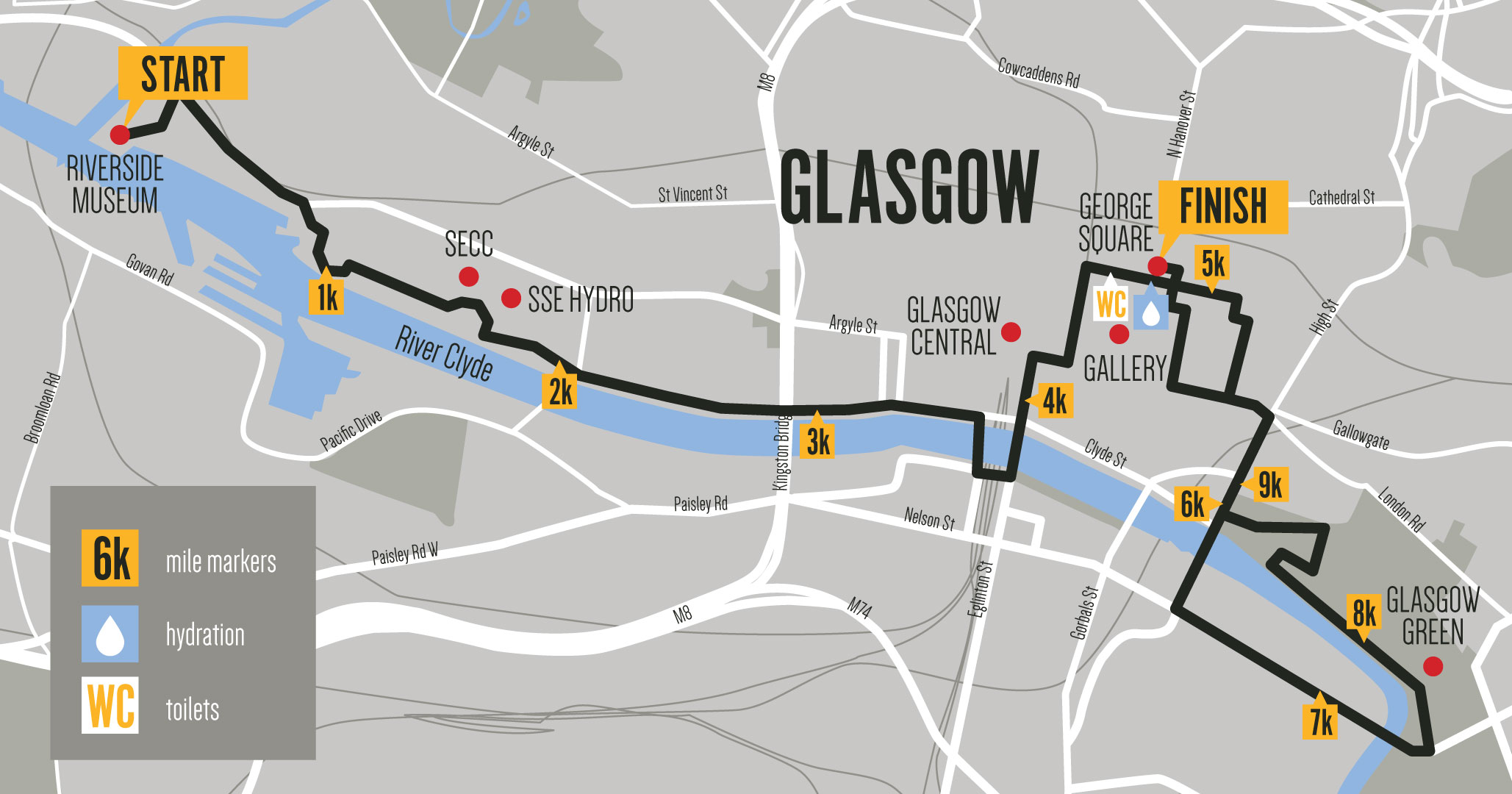Men's 10k Glasgow route