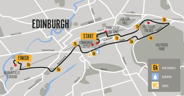 Men's 10k Edinburgh route