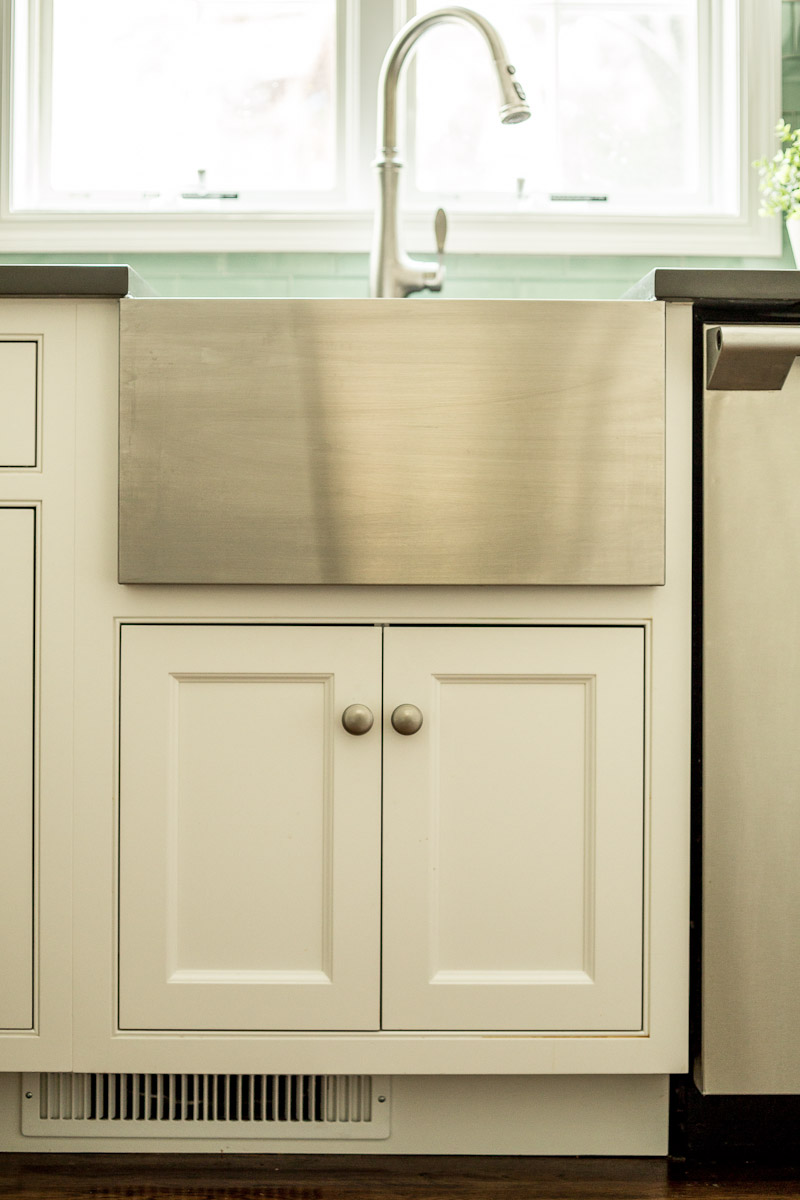 Stainless Steel Apron Sink - White Cabinet Base
