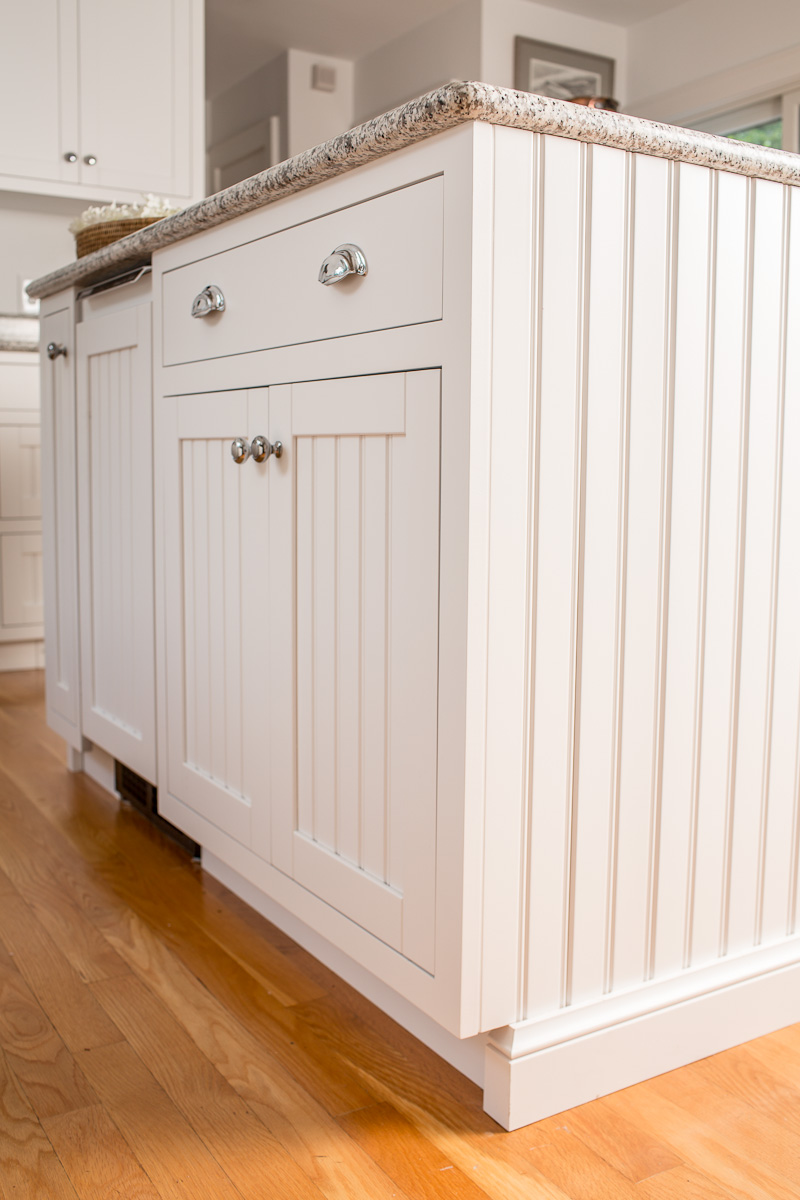 White Beadboard Kitchen Island with Ice Maker Panel
