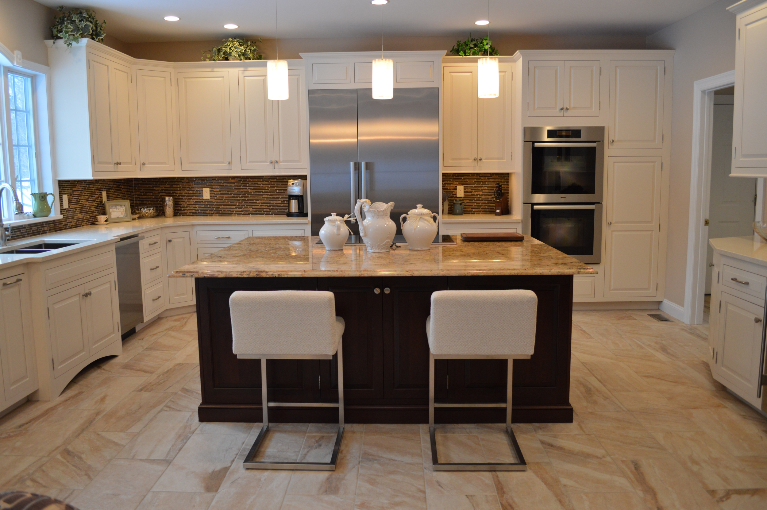 White Kitchen Cabinets and Espresso Cherry Wood Island