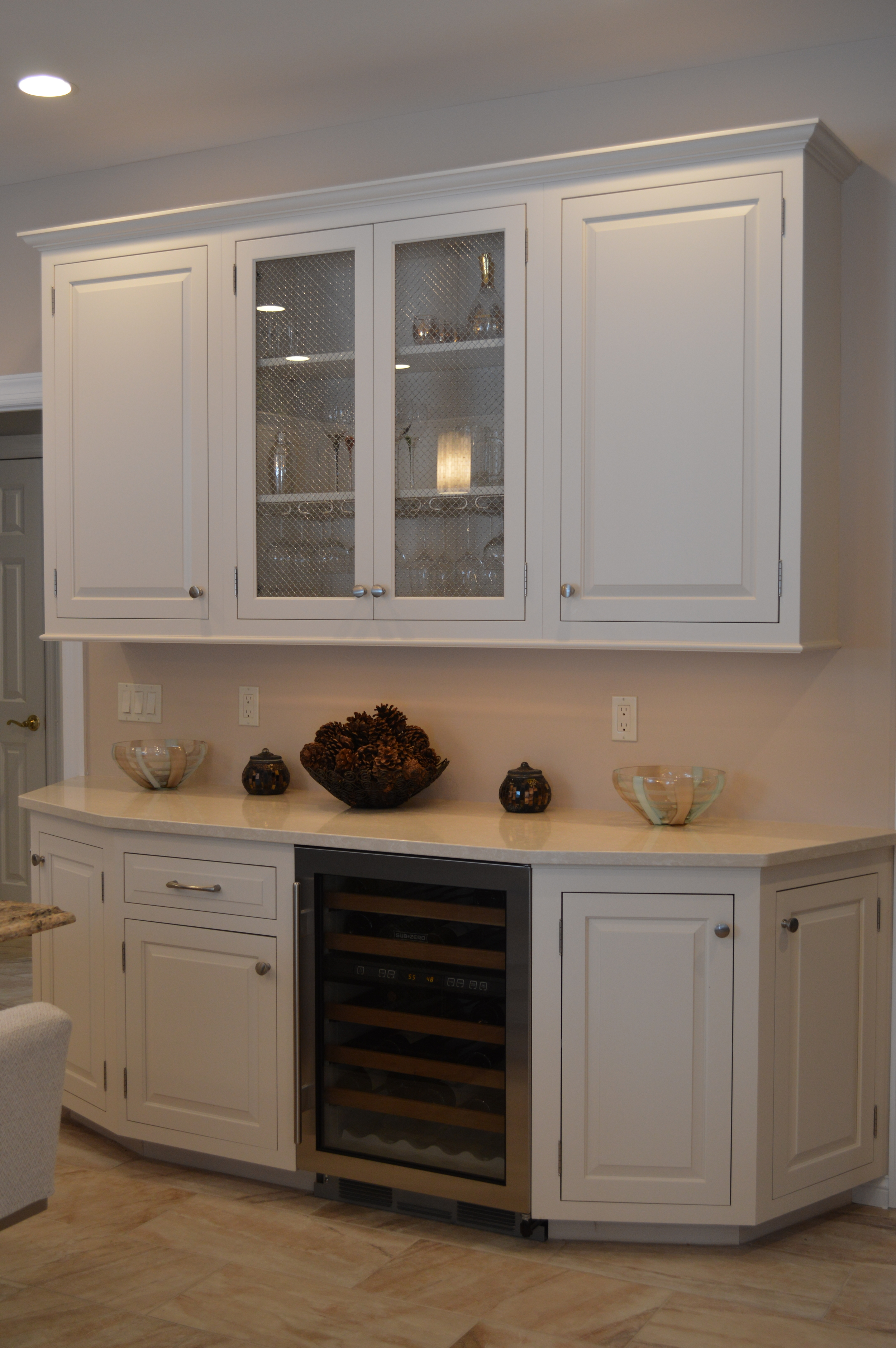Kitchen Wine Fridge - Glass Cabinet Doors and Angled Base Cabinet