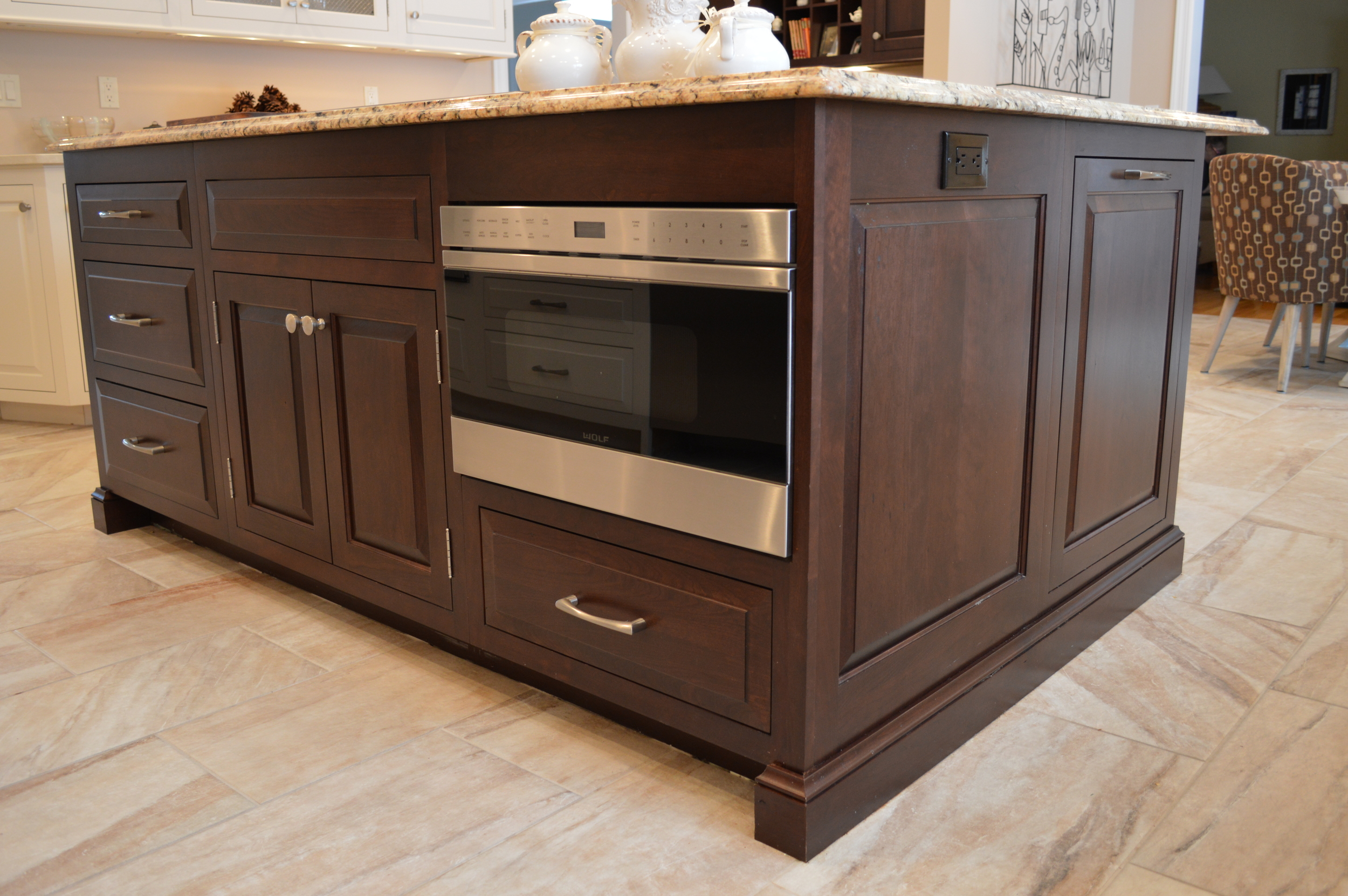 Espresso Cherry Island - Raised End Panels & Stainless Steel Drawer Microwave