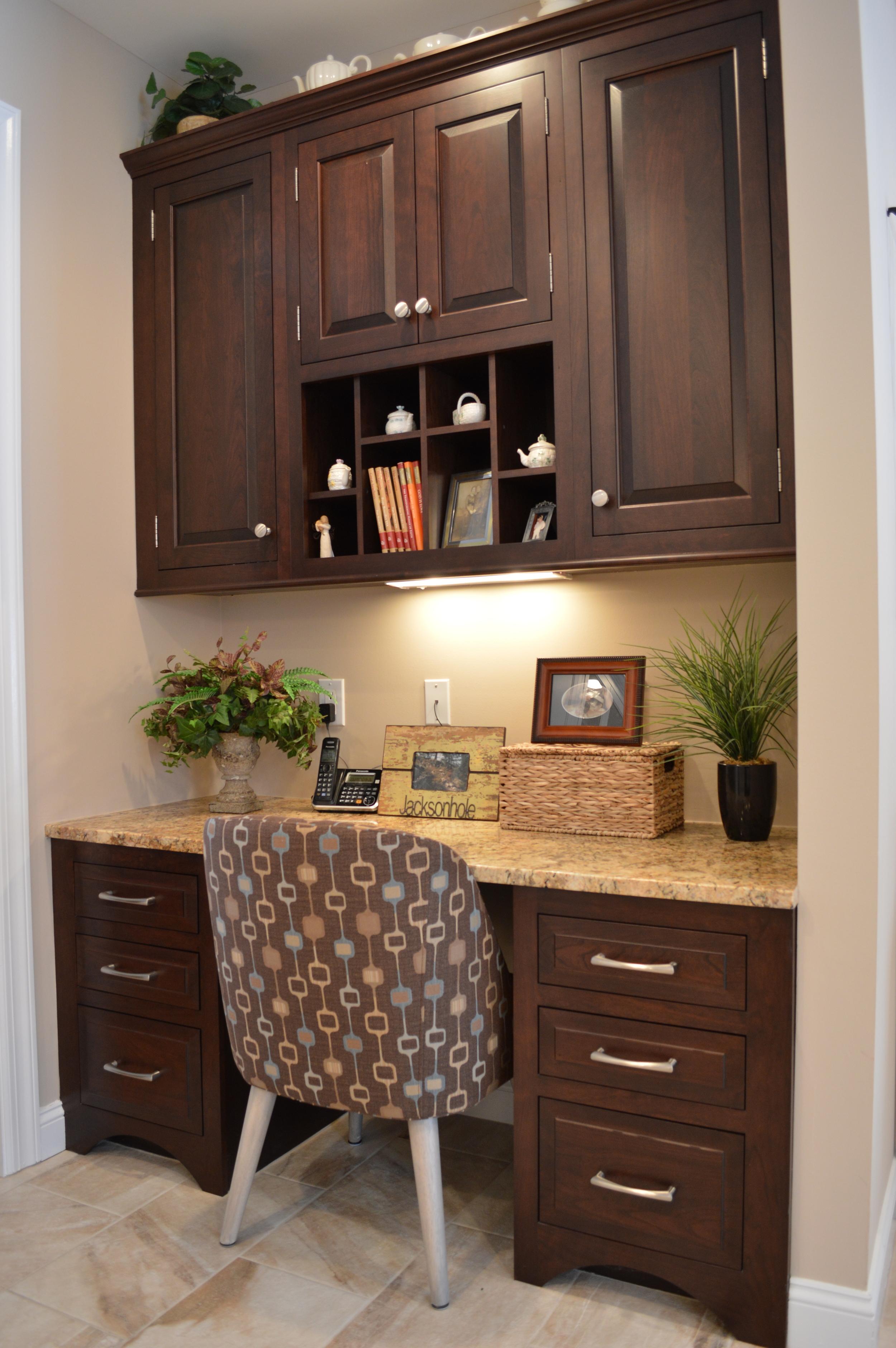 Dark Espresso Cherry Kitchen Desk Area - Display Shelf
