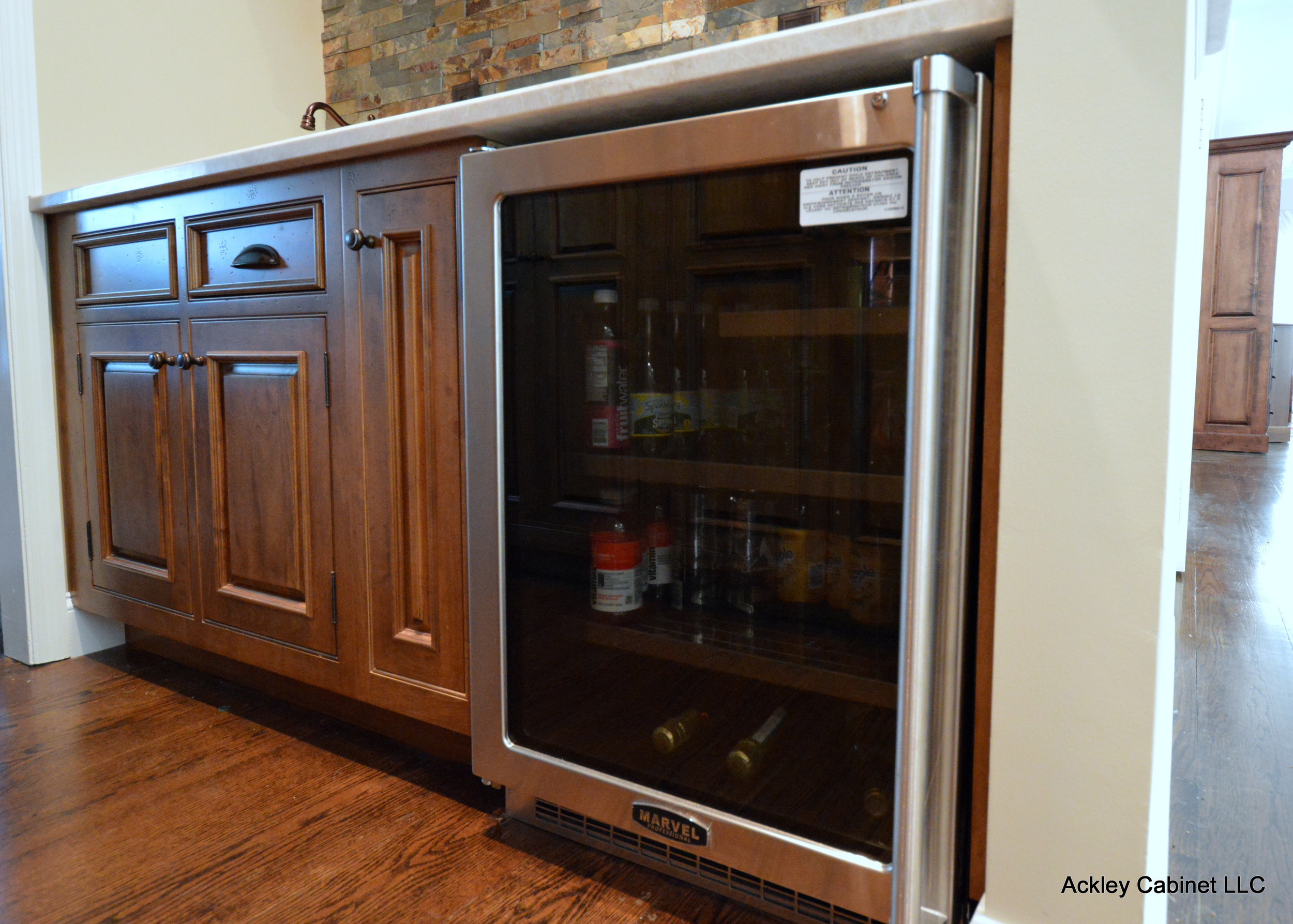 Wine Refrigerator in Wood Kitchen Bar