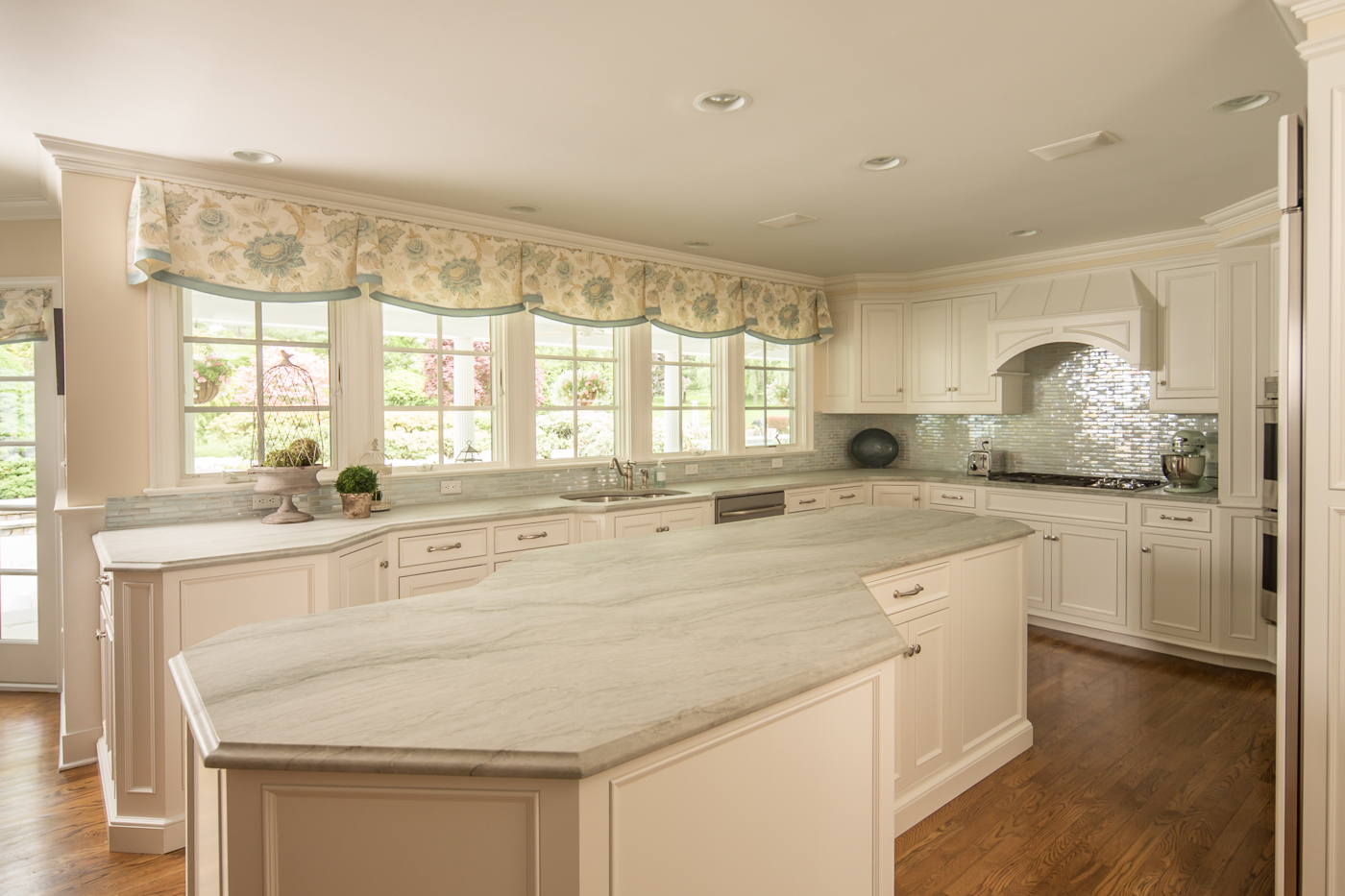 Angled White Kitchen Island