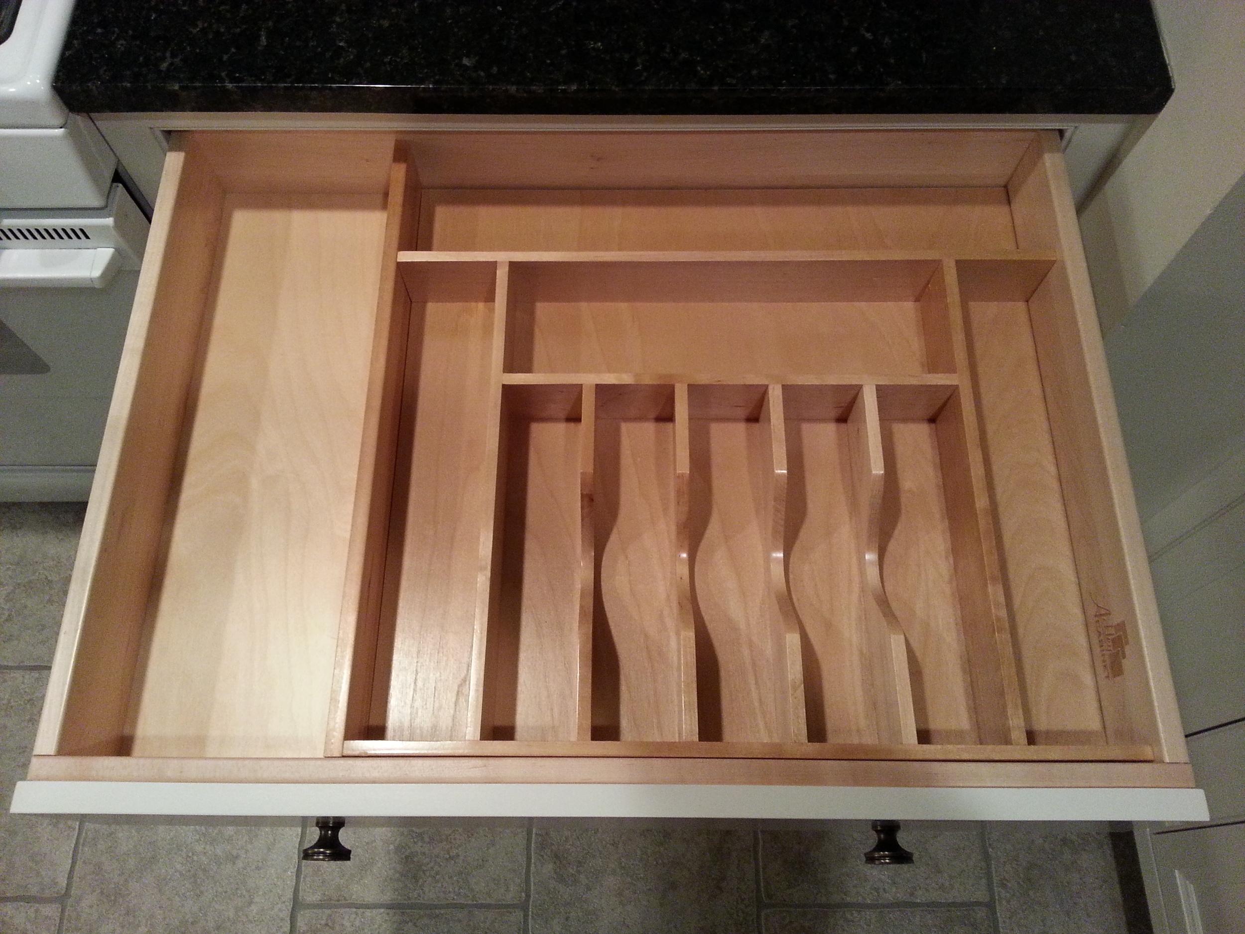 Kitchen drawer wood utensil organizer